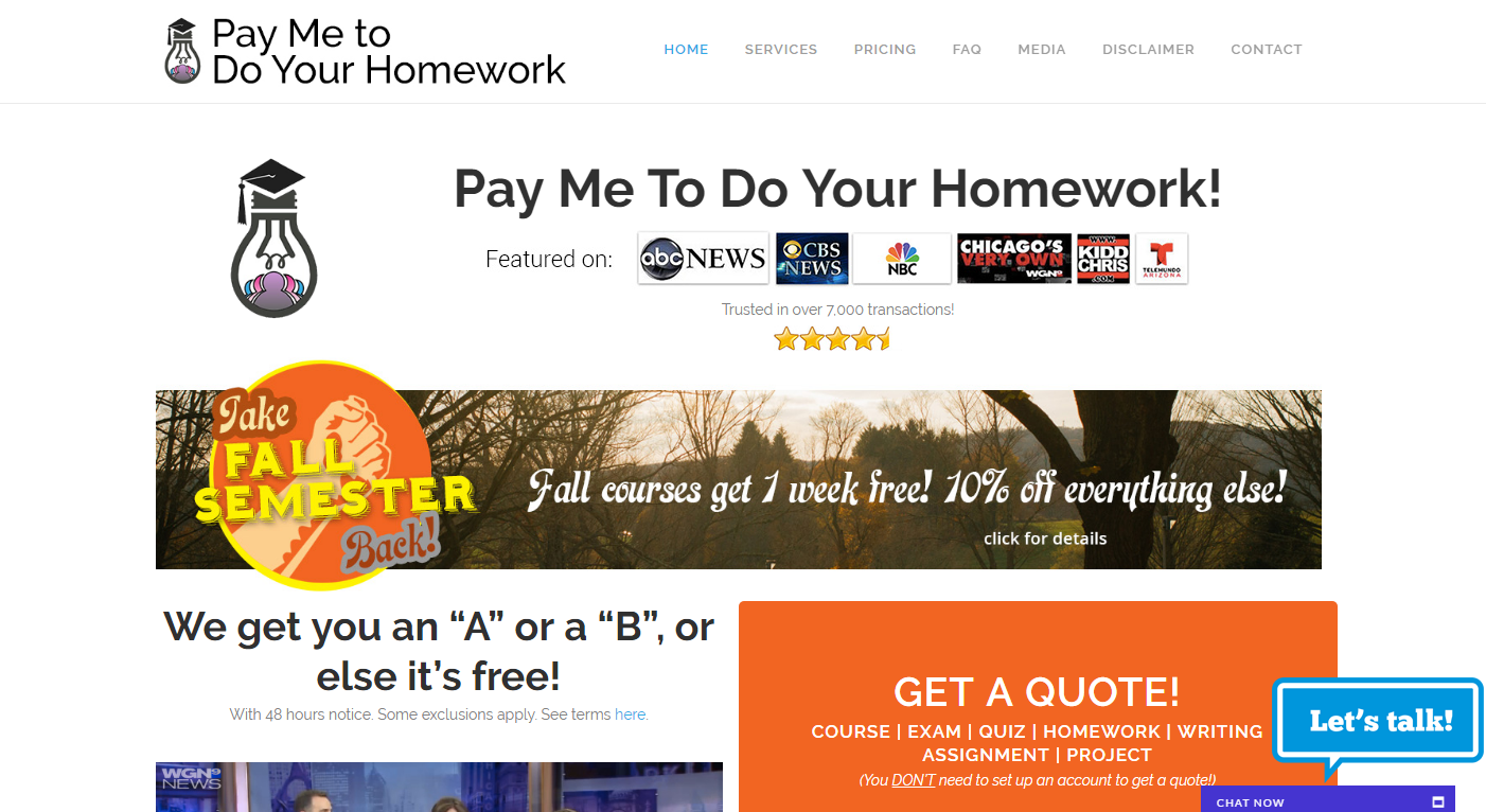 pay someone to do your homework online